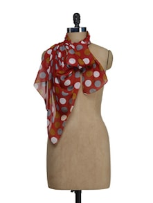 Chic Red Polka Dotted Scarf - HOS Designs