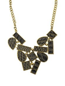 Black & Gold Leather Collage Necklace - Blissdrizzle