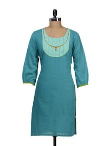Turquoise Kurta With Puffed Sleeves - Maandna
