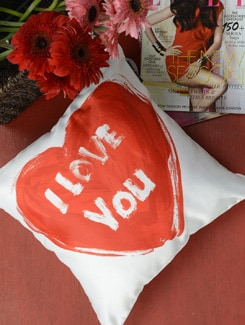 Heart Print Cushion Cover - Ambbi Collections