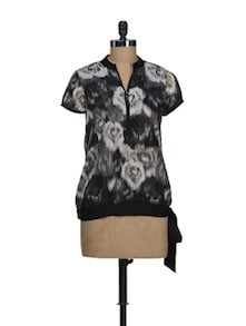 Printed Black Top With Side Knot - Ayaany