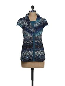 Teal Blue Printed Shawl Collar Top - Ayaany