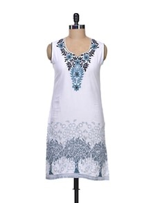 Elegant White Embroidered Kurta - KYLA F
