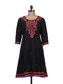 Elegant Black Embroidered Kurta - KYLA F