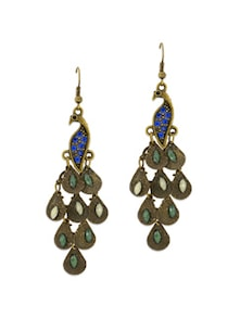 Oxidized Gold Stalk The Peacock Earrings - YOUSHINE