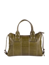 Textured Olive Leather Tote - Hidekraft