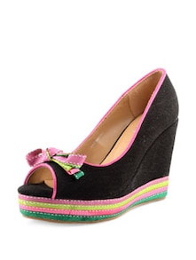 Peep-toe Wedges With Multi-coloured Sole - Carlton London