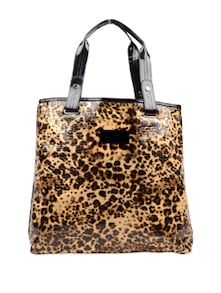 Leopard Print Handbag With Black Handles - Carlton London