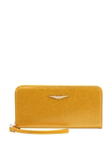 Patent Textured Single Zipper Wallet - Lino Perros