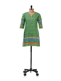 Fresh Green Printed Kurti - KILOL