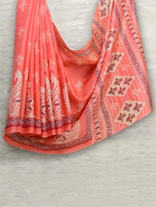 Bright Coral Saree - Awesome