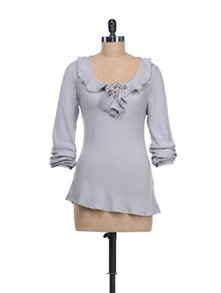 Road Grey Top With Ruffled Peter Pan Collar - @ 499