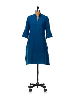 Indigo Blue Straight Yoke Kurta - KILOL