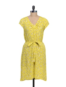 Floral Print Sumshine Yellow Dress - @ 499