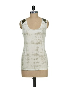 Spray Motif Top With Lace Shoulders - I AM FOR YOU