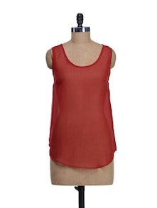 Sheer Red Top With Lace Panel At The Back - I AM FOR YOU