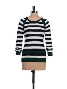 Striped Round Neck Pullover - CLUB YORK