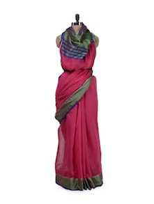 rani pink cotton saree with fancy satin aanchal and border - Bunkar