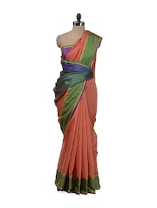 orange contrast border cotton saree with fancy aanchal - Bunkar
