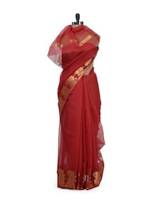 red fashionable kota doria saree with zari border - Bunkar