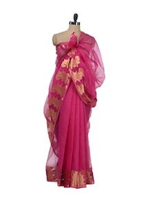 rani pink fashionable kota doria saree with zari border - Bunkar