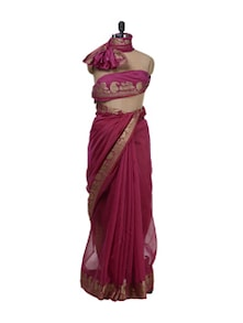 magenta supernet banarasi saree with zari border - Bunkar