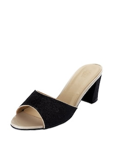 Glittering Black Block Heels - KNIGHT N GALE