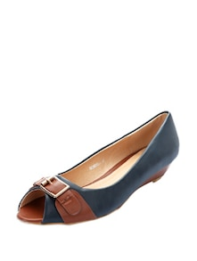 Blue Peep Toes With Tan Buckle - KNIGHT N GALE