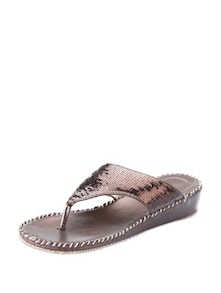 Sequinned Brown Flats - KNIGHT N GALE