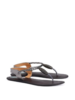 Braided Strap Flat Sandals In Gun Metal - CATWALK