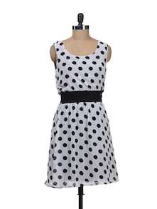 Polka Dots Dress With Elasticized Waist - Deal Jeans 51238