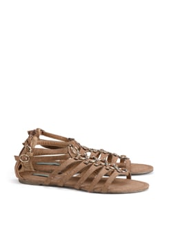 Brown Strappy Sandals In Faux Leather - CATWALK