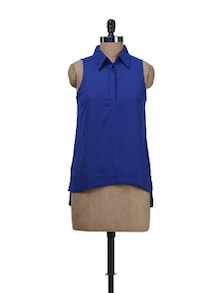 Sleeveless Shirt With Asymmetric Hem - Deal Jeans
