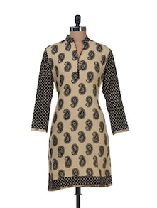 Paisley Print Kurta In Beige And Black - NAVYOU