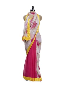 Pink Rose Print Saree - ROOP KASHISH