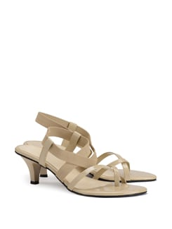 Patent Leather Off White Strappy Sandals - CATWALK