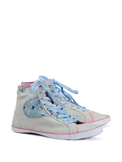 I Heart Denim High Top Sneakers - CATWALK