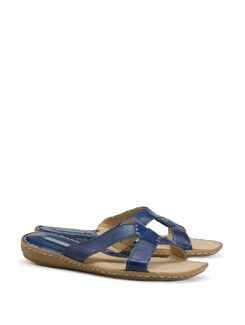 Blue Faux Leather Slip On Sandals - CATWALK