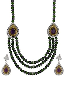 Gold & Green 3 Strings Necklace Set - Luxor