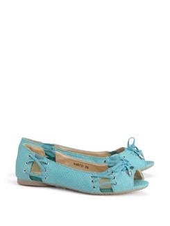 Blue Peep Toe Ballet Flats - CATWALK