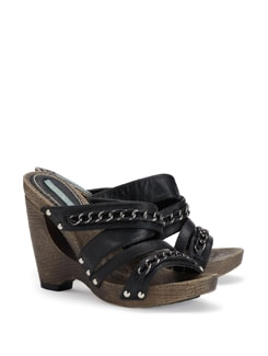 Black Wedges With Rivers And Chain - CATWALK