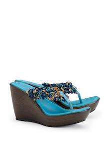 Blue Frill Wedge Heels - CATWALK