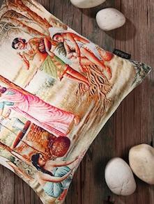 Ancient Village Scene Cushion Cover - Belkado
