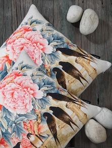 Bird Print Cushion Covers (Set Of 2) - Belkado