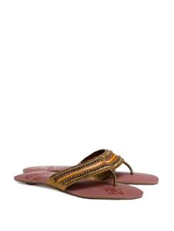Beaded Flat Sandals With A Brick Red Sole - CATWALK