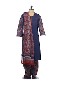 Navy Blue Suit Set In Elegant Print - KILOL