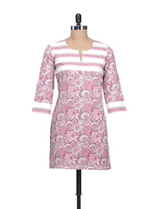 Everyday Cotton Kurti In Pink Floral Print - KILOL