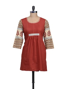 Festive Red Kurti With Printed Sleeves - KILOL