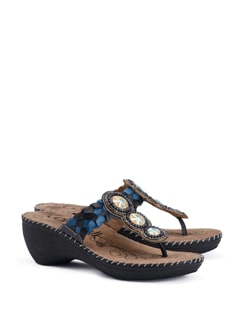 Plaited Leather Strap Sandal With Wooden Bead Embroidery - CATWALK