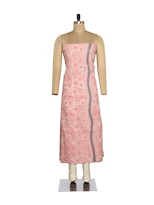Floral Embroidered Unstitched Kurta In Pink - Ada